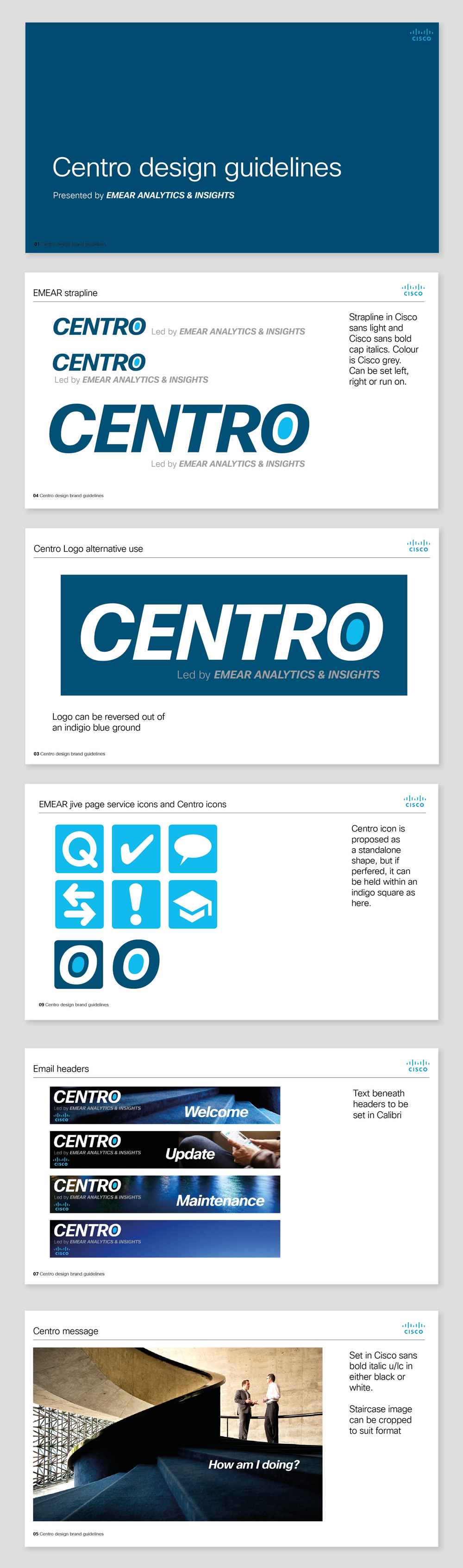 New branding, logo and style book for Centro, the sales data dashboard used throughout Cisco EMEAR